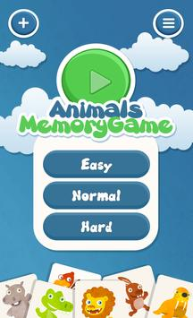 Animals memory game for kids poster