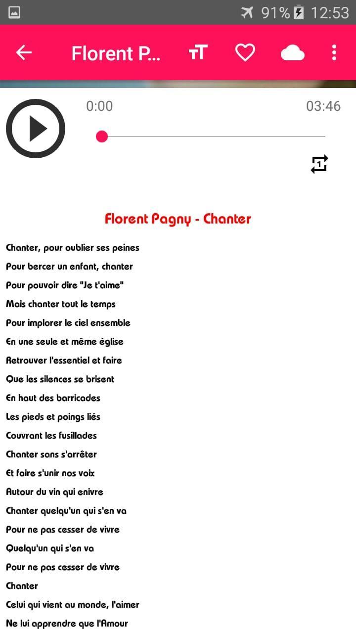 Florent Pagny Music Sans Net Avec Paroles For Android