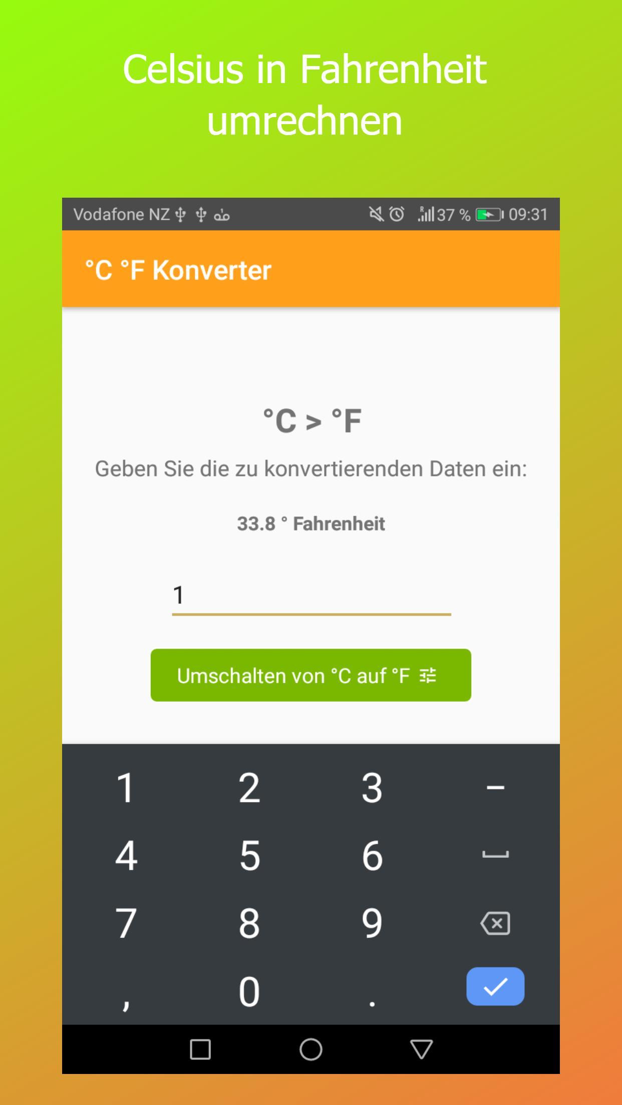 Fahrenheit Celsius Konverter für Android   APK herunterladen