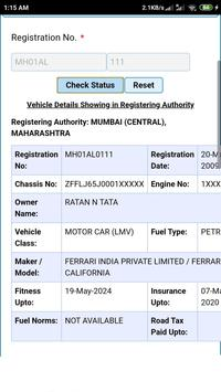Vehicle registration details poster