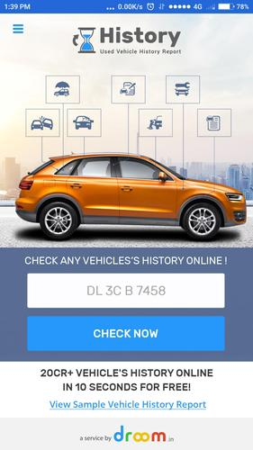 Free Vehicle History Report Online >> History Check Vehicle History Registration For Android