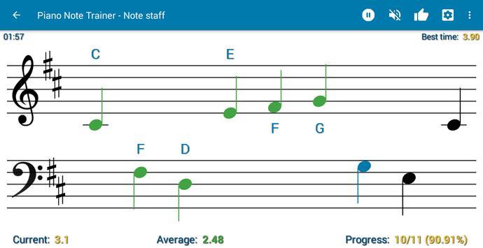 Read notes MIDI/USB support - Piano Note Trainer पोस्टर