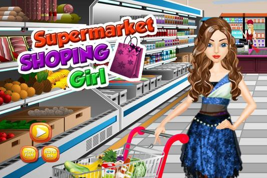 supermarché shopping girl Affiche