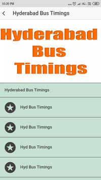 Hyderabad Bus Timings poster