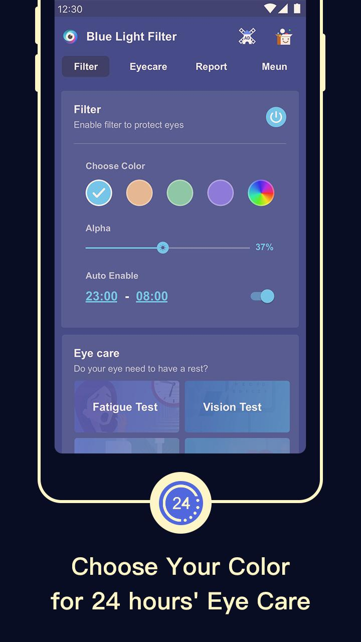 Blue Light Filter Screen Dimmer For Eye Care For Android