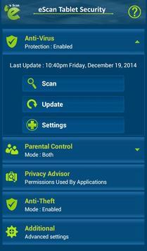 eScan Tablet Security screenshot 1