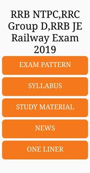 RRB NTPC, RRC Group D ,RRB JE Railway Exam 2019 screenshot 1