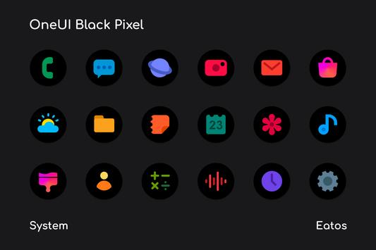 OneUI 3 Black - Round Icon Pack Poster