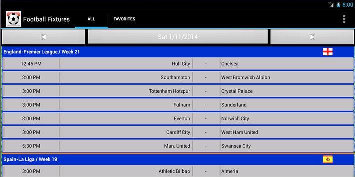Football Fixtures screenshot 12