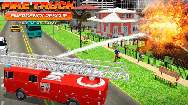 Fire Truck Emergency Rescue - Driving Simulator تصوير الشاشة 2