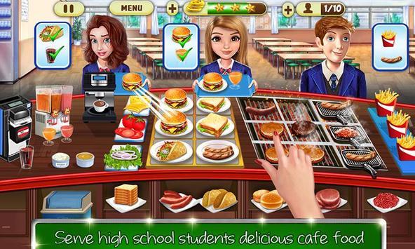 kafe sekolah tinggi: permainan memasak burger screenshot 1