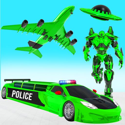 フライングリムジン 警察のヘリコプター 車のロボットゲーム