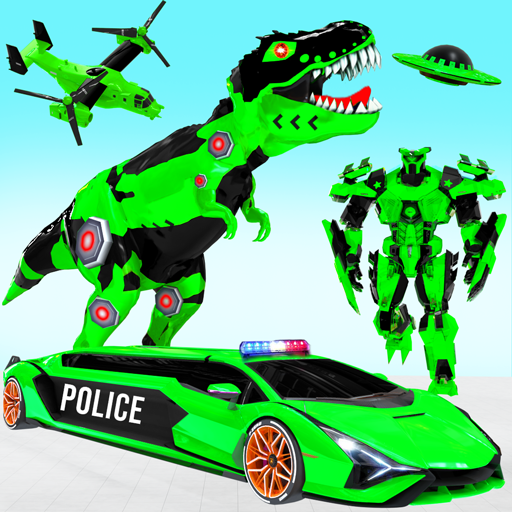 Police Limo Dino Robot Helicopter Car Robot Games