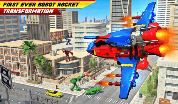 Flying Robot Rocket Transform Robot Shooting Games screenshot 8