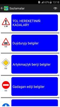 Türkmenistan Ýol Belgileri we Kadalary poster