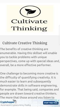 Learn Cultivate Creative Thinking poster