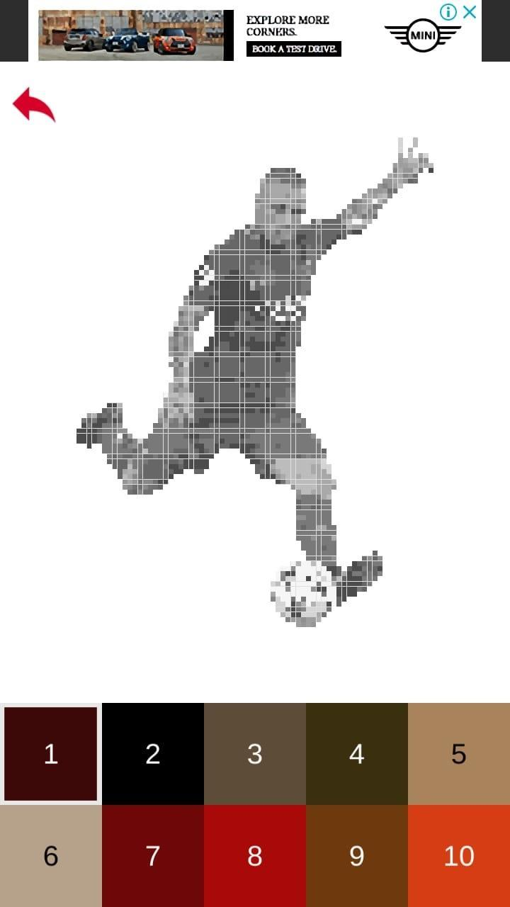 Football Players Color By Number Pixel Art Games For