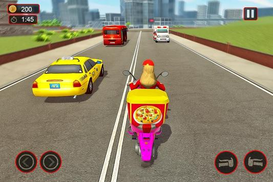 Moto Bike Pizza Delivery – Girl Food Game screenshot 2