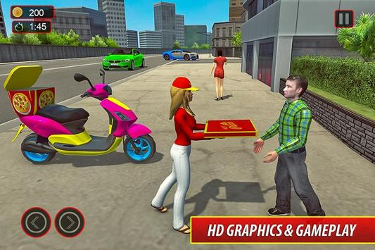 Moto Bike Pizza Delivery – Girl Food Game screenshot 3