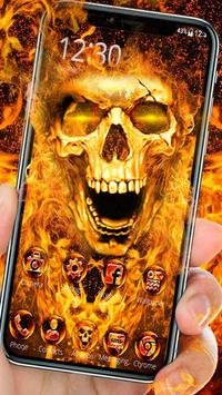 Scary Fire Skull poster