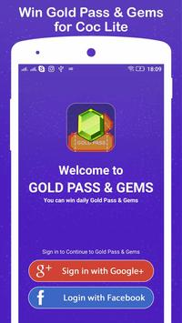 Win Gold Pass & Gems for COC Lite poster