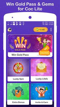 Win Gold Pass & Gems for COC Lite screenshot 1