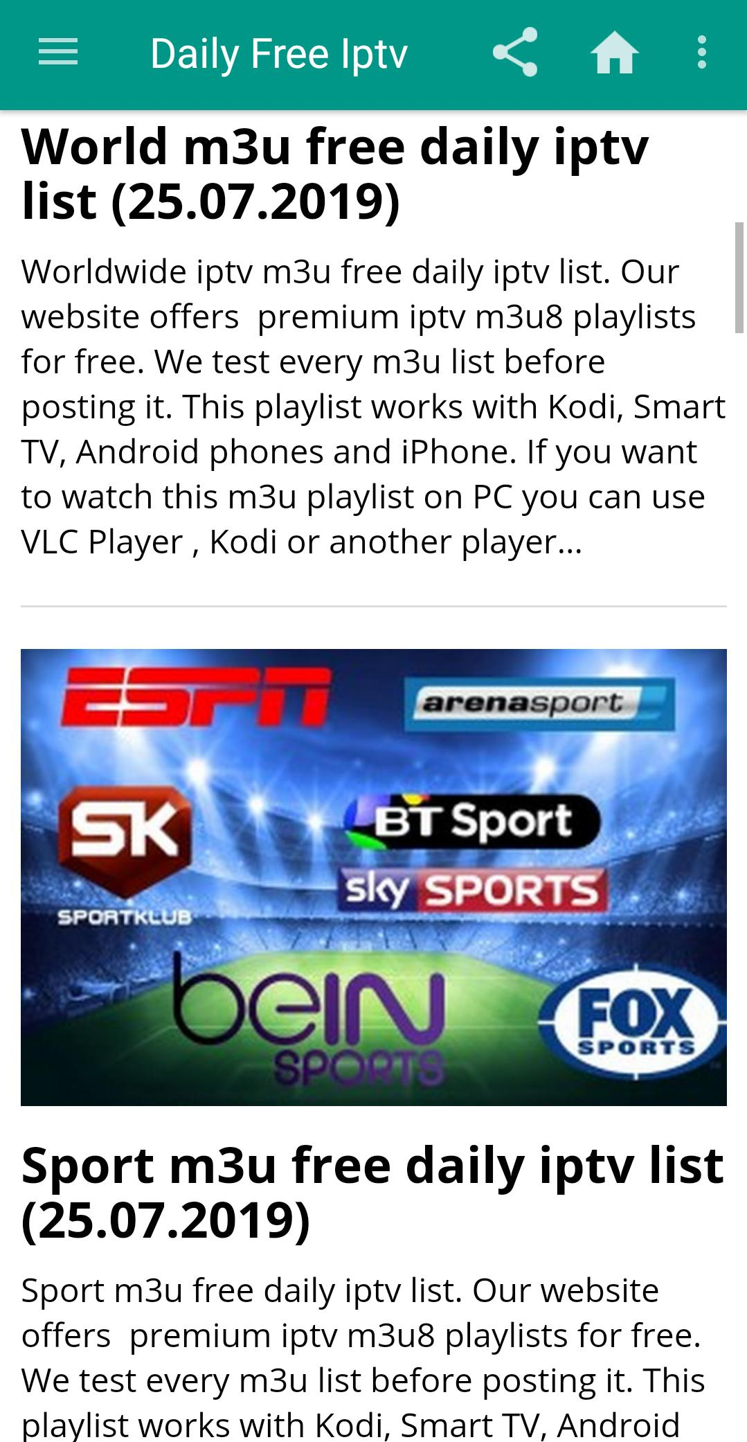 Working Iptv M3u List 2020.Daily Free Iptv Free M3u Link List 2020 For Android Apk