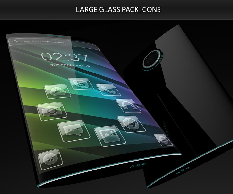 Glass theme & glass icon pack + amoled wallpapers poster