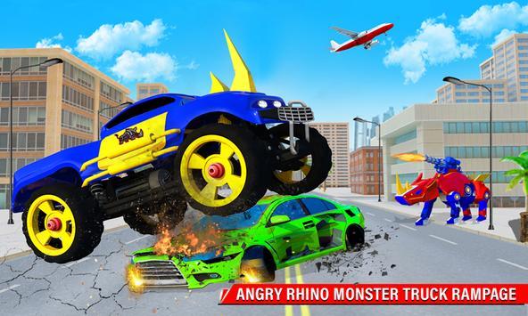 Rhino Robot Monster Truck Transform Robot Games screenshot 2