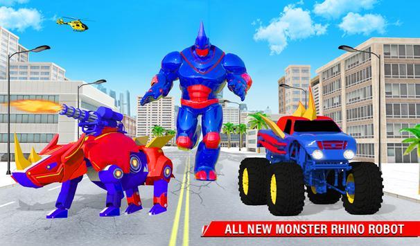 Rhino Robot Monster Truck Transform Robot Games screenshot 9