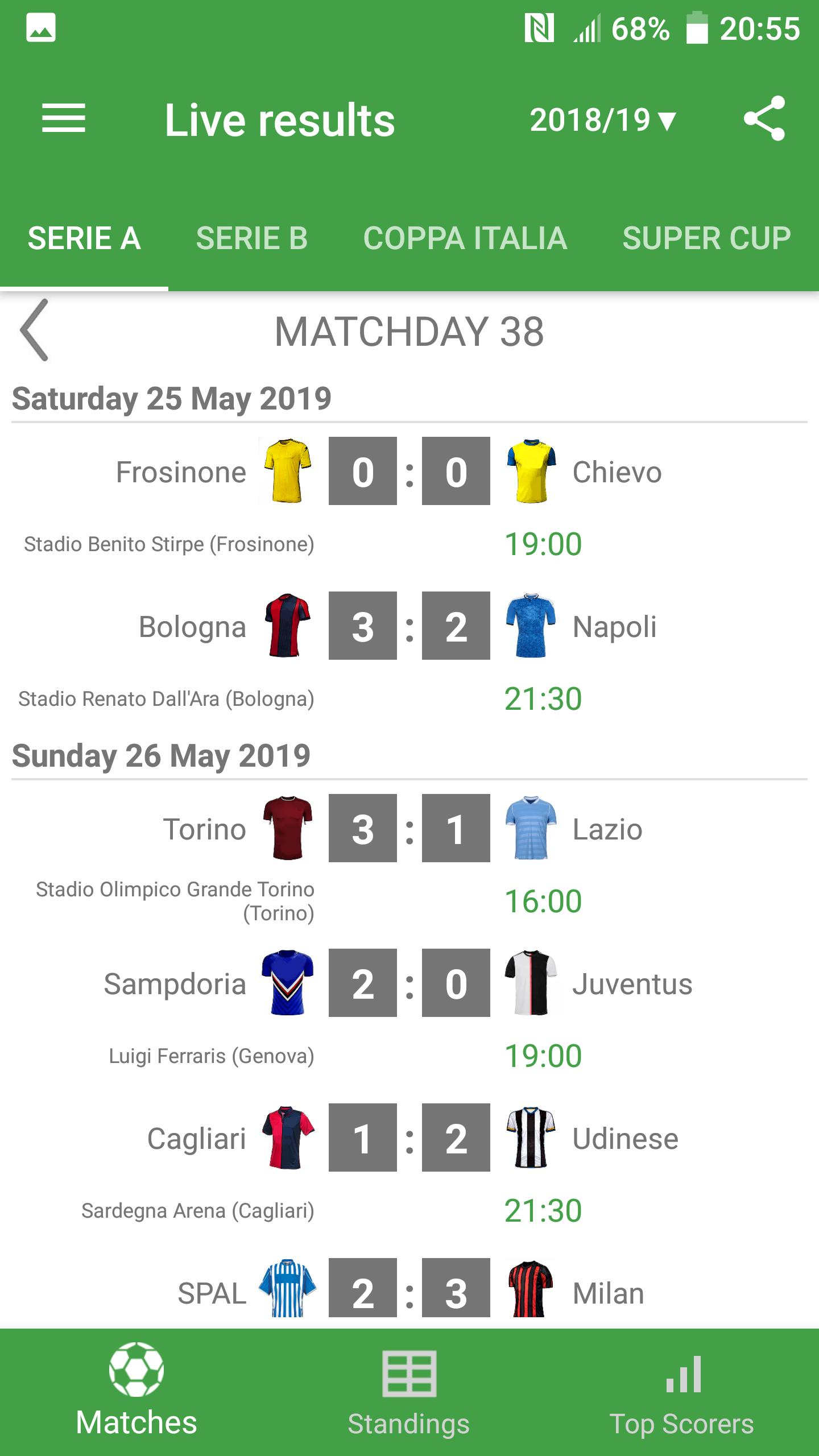Live Scores for Serie A 2019/2020 for Android - APK Download