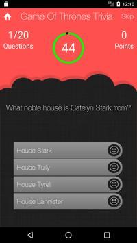 UnOfficial Game Of Thrones Quiz Trivia Game screenshot 1