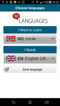 Learn Norwegian - 50 languages poster
