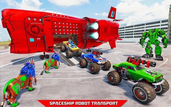 Space Robot Transport Games - Lion Robot Car Game screenshot 14