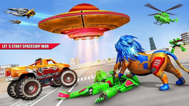 Space Robot Transport Games - Lion Robot Car Game poster