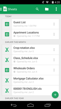 Google Sheets screenshot 1