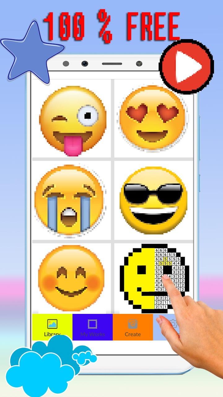 Cute Emoticon Coloring By Number Pixel Art For Android Apk