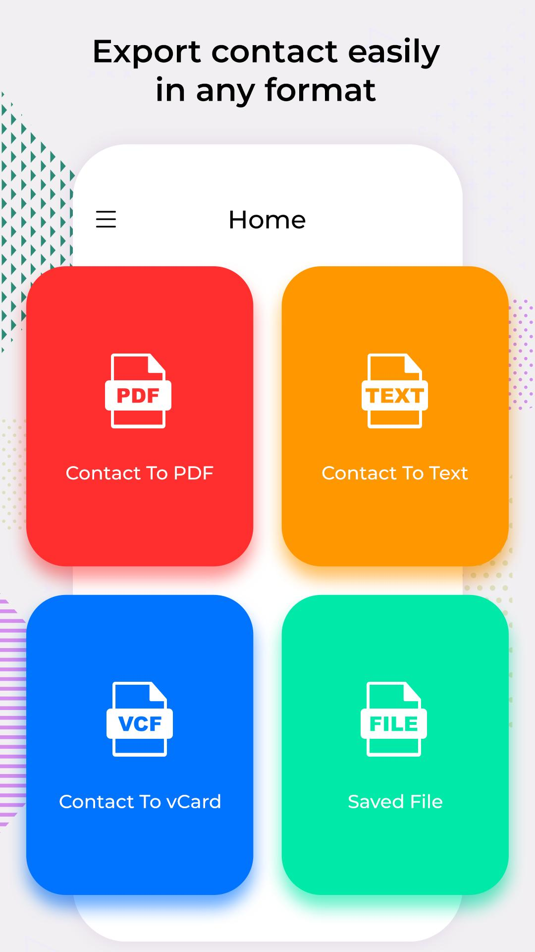 PhoneBook Backup: Contact to PDF, Text, VCF for Android