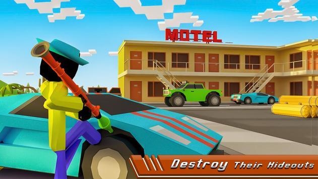 Stickman Mafia Theft Gangster Blocky City screenshot 3