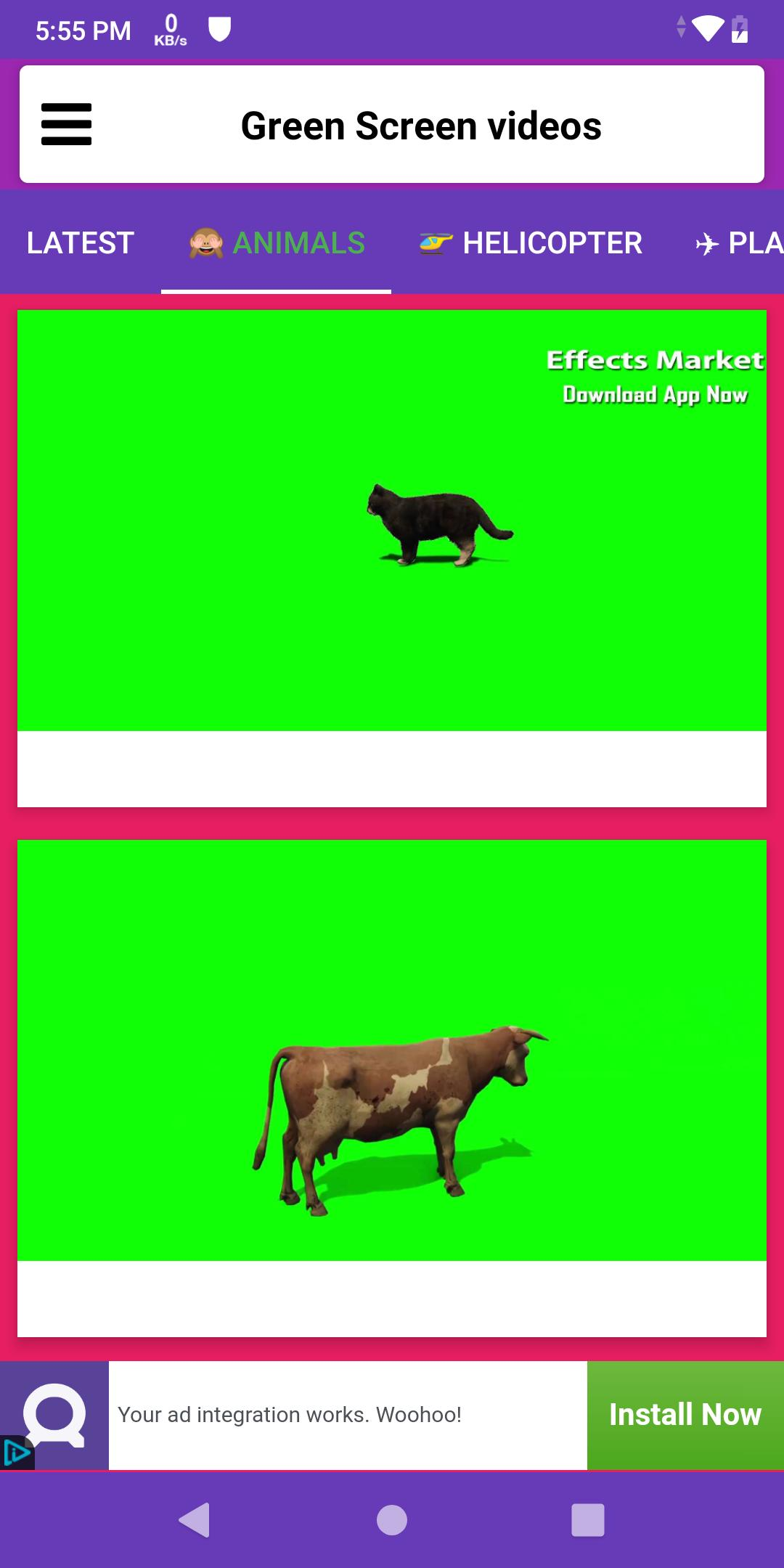 Green Screen videos & effects download free for Android