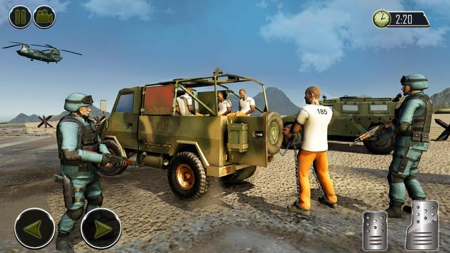 OffRoad US Army Helicopter Prisoner Transport Game تصوير الشاشة 11