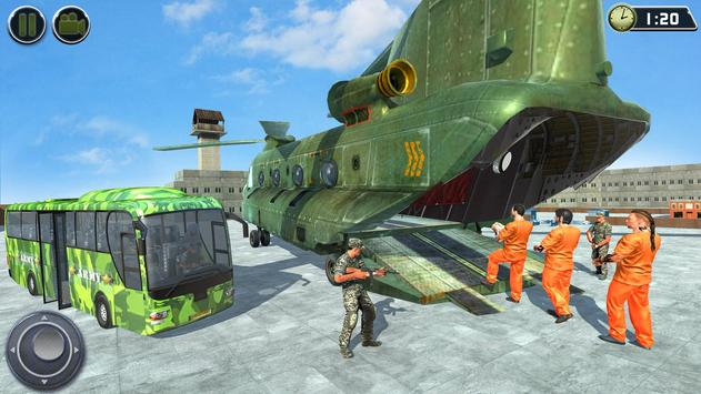OffRoad US Army Helicopter Prisoner Transport Game تصوير الشاشة 6