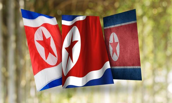 North Korea Flag Wallpaper poster