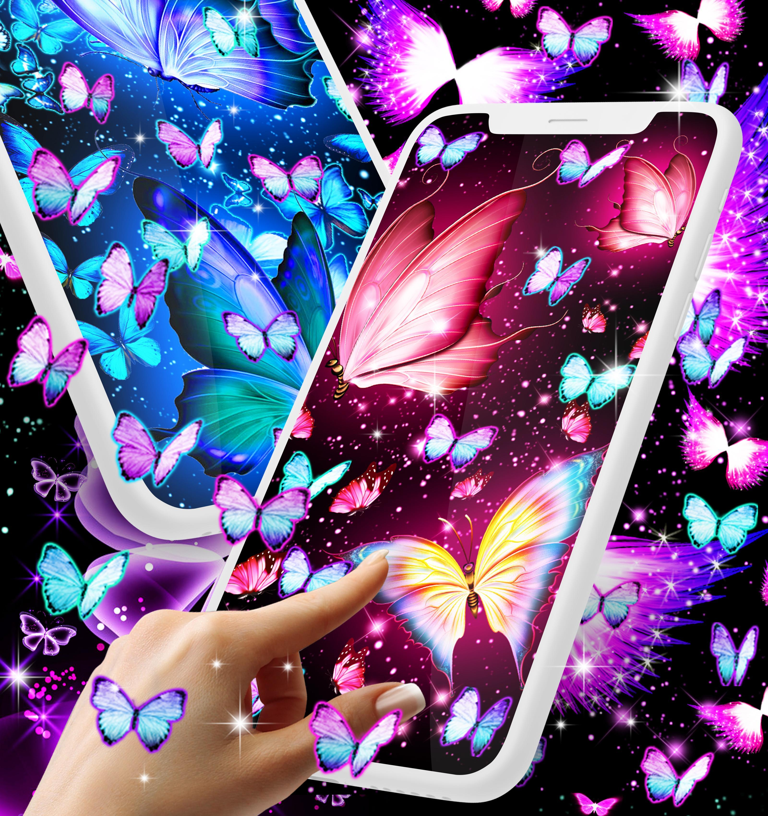 Neon Butterflies Glowing Live Wallpaper For Android Apk Download