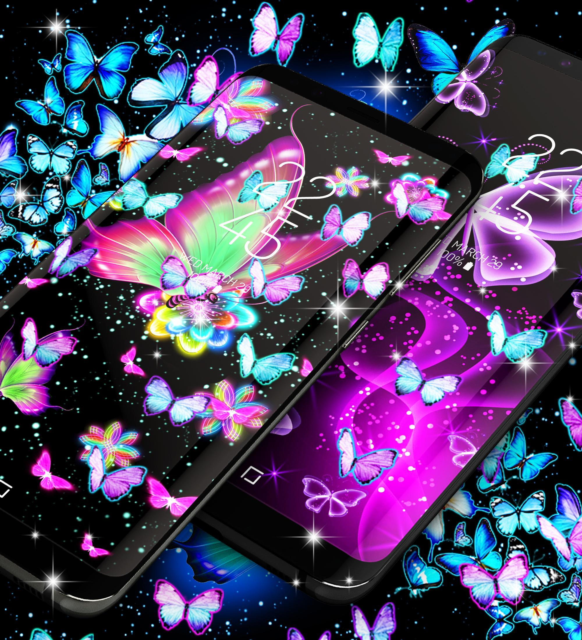 Neon butterflies glowing live wallpaper for Android - APK ...