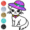 Cute Kitty Coloring Book For Kids With Glitter आइकन