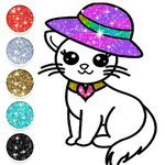 Cute Kitty Coloring Book For Kids With Glitter APK