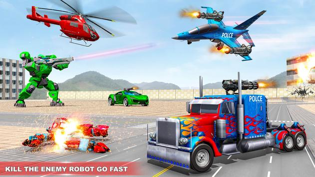 Police Truck Robot Game – Dino Robot Car Games 3d screenshot 6