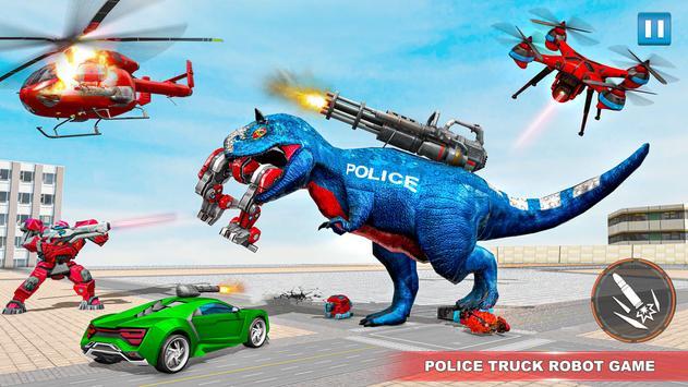 Police Truck Robot Game – Dino Robot Car Games 3d screenshot 13