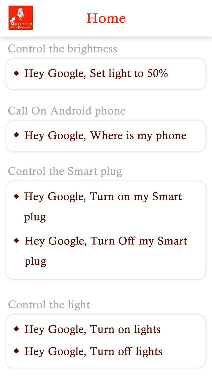 Ok Google Voice Commands for Google Assistant for Android